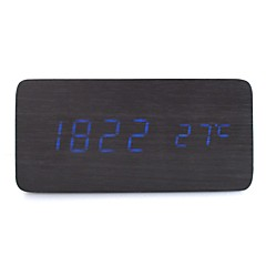 RayLineDo® Latest Design Fashion Black Wood Blue LED Light Wooden Digital Alarm Clock -Time Temperature Date Display - Voice and Touch Activated