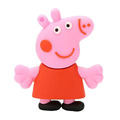 USB 2.0-Flash-Laufwerk Platte 128GB rosa Schwein paige Gummi