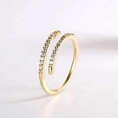 Ring Zircon Cubic Zirconia Alloy Fashion Gold Jewelry Daily Casual 1pc
