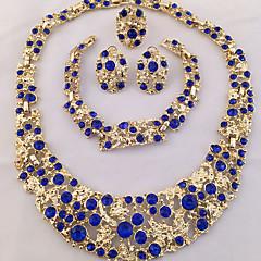 Mulheres Conjunto de Jóias Anel Colares Declaração Pulseira Brinco Original bijuterias Moda Personalizado Africa Cristal Strass 1 Colar 1
