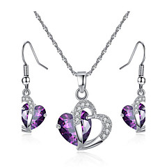 Jewelry Set Amethyst Crystal Crystal Zircon Cubic Zirconia Alloy Fashion Heart Purple Blue Bridal Jewelry Sets Party Daily 1set1 Necklace