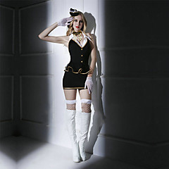 Cosplay Costumes Party Costume Sexy Sailor/Navy Pilot Festival/Holiday Halloween Costumes Black Solid Dress Cravat Gloves Socks Briefs Hat