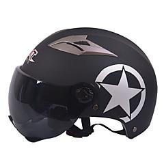 GXT M11 Kask motocyklowy pół podwójnego obiektywu harley hełm lato unisex krem nadaje się do 55-61cm z krótkim obiektywem lustrzanym