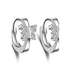 Cubic Zirconia Κρίκοι Κοσμήματα Γάμου Πάρτι Καθημερινά Causal Απομίμηση Μαργαριταριού 1 ζευγάρι Ασημί