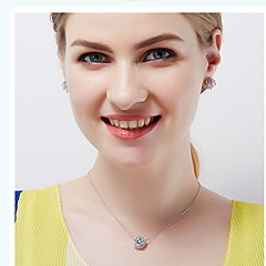 Pendant Necklaces Crystal Zircon Cubic Zirconia Round Basic Dangling Style Fashion Silver Jewelry Daily Casual 1pc