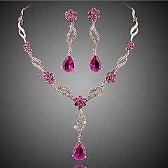 Dames Sieraden Set Bruidssieradensets Kristal imitatie Ruby Bloemen  Modieus Europees Kostuum juwelen Kristal Zirkonia Kubieke Zirkonia