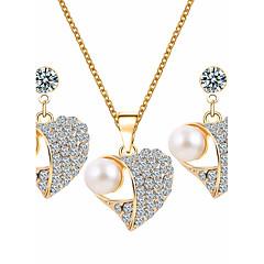 Mulheres Conjunto de Jóias Gema Básico bijuterias Imitação de Pérola Strass Liga Formato de Coração 1 Colar 1 Par de Brincos Para