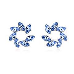 Κουμπωτά Σκουλαρίκια Κρυστάλλινο Λουλούδι Εξατομικευόμενο Euramerican μινιμαλιστικό στυλ Βυσσινί Κόκκινο Πράσινο Μπλε Κοσμήματα ΓιαΓάμου