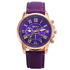 Женские Модные часы Кварцевый Кожа Группа Повседневная Коричневый Фиолетовый Желтый