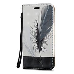 For Kortholder Med stativ Flip Mønster Magnetisk Etui Heldækkende Etui Fjer Hårdt Kunstlæder for Samsung Note 5 Note 4 Note 3