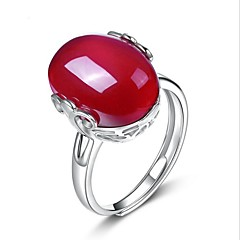 925 Ring Drops Unique Design Wedding Party Special Occasion Jewelry Sterling Silver Crystal Agate Ring 1pcOne Size Silver Red