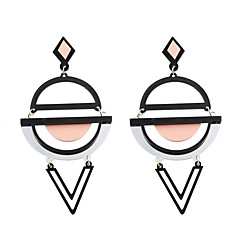 Drop Earrings Acrylic Alloy Acrylic Fashion Personalized Round Black Yellow Green Pink+White JewelryWedding Party Halloween Daily Casual