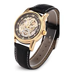 Masculino Relógio de Pulso relógio mecânico Japanês Automático - da corda automáticamente Gravação Oca PU Banda Luxuoso Preta Preto