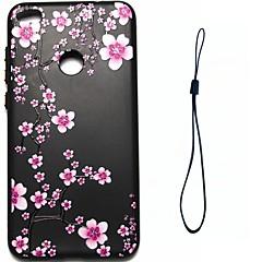 Til huawei p8 lite (2017) p10 cover til blomme blomme mønster brændstofindsprøjtning relief plating button tykkere tpu materiale telefon