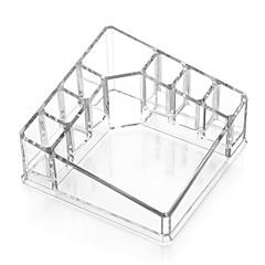 Acrílico transparente cosméticos quadrados maquiagem armazenamento suporte escova organizador para batom esmalte