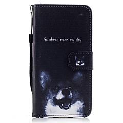 Mert Pénztárca Kártyatartó Állvánnyal Flip Minta Case Teljes védelem Case Kutya Kemény Műbőr mert HuaweiHuawei P9 Lite Huawei P8 Lite