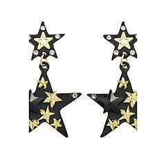 Κρεμαστά Σκουλαρίκια Βασικό Κράμα Star Shape Χρυσό/Μαύρο Κοσμήματα Για Causal 1 ζευγάρι