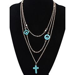 Γυναικεία Κολιέ Τσόκερ πολυεπίπεδη Κολιέ Κοσμήματα Cross Shape Κοσμήματα ΚράμαΒασικό Στρας Λουλούδια Φύση Φιλία DIY ταινία Κοσμήματα