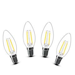 2W E14 Żarówki LED świeczki C35 2 COB 200 lm Ciepła biel Dekoracyjna AC 220-240 V 4 sztuki