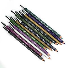 롱 타입의 천연 아이 라이너 펜 및 샤프너 12 색 방수 메이 컵 아이 라이너 연필
