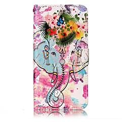 LG g6 suojus elefantti ja kukat malli kiiltoa helpotusta PU materiaali kortti stentti lompakko puhelinkotelo
