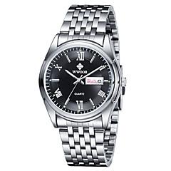 WWOOR Men's Dress Watch Fashion Watch Japanese Quartz Calendar Stainless Steel Band Casual Silver Dark Blue Silver Black