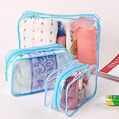 1pc Kosmetiktasche Wasserdicht Staubdicht Klappbar für Unisex Kulturtasche Hygieneartikel Kunstleder (PU) PVC-Gelb Fuchsia Blau