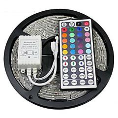 Z®zdm vanntett 5m 24w 300x2835rgb smd lys led strip lys 44key ir fjernkontroll sett (dc12v)