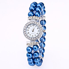 Women's Bracelet Watch Chinese Quartz Pearl Band Elegant White Red Pink Navy