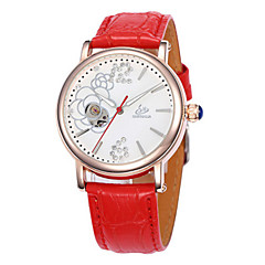 Women's Fashion Watch Mechanical Watch Quartz Automatic self-winding Leather Band White Red Purple