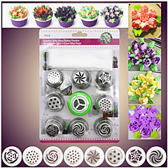 10 Cake Decorating Bake Tool Kit Set 8 DIY Russian Frost Ice Piping Nozzle 1 Flower Nail 1 Coupler Pastry Bag