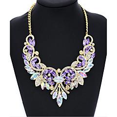 Dame Kort halskæde Imiteret Diamant Rund form Vinger / Fjer Glas Simuleret diamantEnkelt design Rundt design Unikt design Cirkel Mode