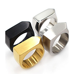 Basic Square Classic Stainless Steel Ring Geometric Jewelry For Halloween Gift Christmas Gifts 1 pc