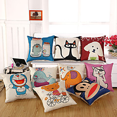 1 szt Cotton / Linen Pokrywa Pillow Poszewka na poduszkę,Nowość Zwierząt Drukuj Przypadkowy Tradycyjny / Classic