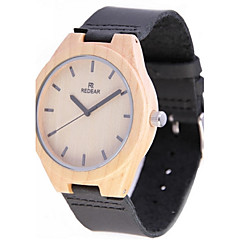 REDEAR®Men's Wood Watch Japanese Miyota Quartz Wooden Genuine Leather Band Elegant Black