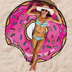 Microfiber Round 150cm Pink Donut Beach Towel for Summer Holiday Bath Towel Shawl Pad