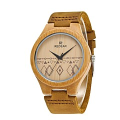 Dames Heren Modieus horloge Horloge Hout Japans Kwarts houten PU Echt leer Band Bedeltjes Elegante horloges Kaki