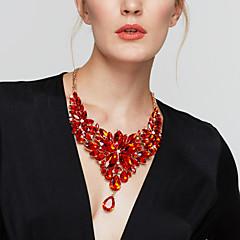 Naisten Statement kaulakorut Isot kaulakorut Flower Shape Gemstone Hartsi Muoti Eurooppalainen ylellisyyttä koruja TyylikäsHarmaa Ruusu