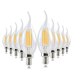 4W LED-kynttilälamput CA35 4 COB 300-400 lm Lämmin valkoinen Himmennettävissä Koristeltu AC 220-240 V 10 kpl