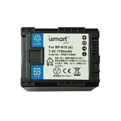 Ismartdigi bp819 7.4v μπαταρία φωτογραφικής μηχανής 1780mah για canon fs10 100 11 200 21 22 hf m400 m31 m32 s30