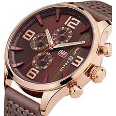 Heren Sporthorloge Modieus horloge Polshorloge Unieke creatieve horloge Vrijetijdshorloge Kwarts Kalender Chronograaf Stopwatch Echt leer