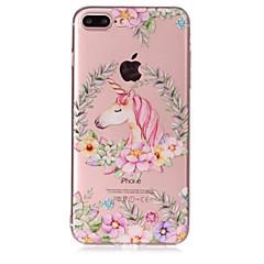 Käyttötarkoitus iPhone X iPhone 8 kotelot kuoret Läpinäkyvä Koristeltu Kuvio Takakuori Etui Yksisarvinen Kukka Pehmeä TPU varten Apple