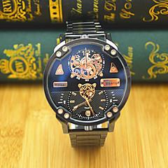 JUBAOLI Męskie Sportowy Modny Zegarek na nadgarstek Chiński Kwarcowy Dwie strefy czasowe Duża tarcza Stal nierdzewna PasmoNowoczesne Na