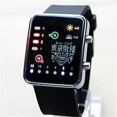 Ανδρικά Γυναικεία Ψηφιακό ρολόι Ψηφιακό Νυχτερινή λάμψη καουτσούκ Μπάντα Κινούμενα σχέδια Μαύρο Λευκή
