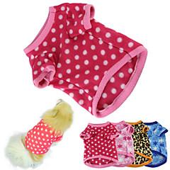 Katte Hunde T-shirt Pyjamas Blå Brun Pink Rose Hundetøj Vinter Forår/Vinter Polkaprikker Hold Varm