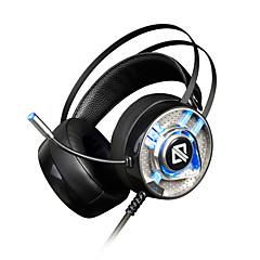 AJAZZ AX360 Fejpánt Vezetékes Fejhallgatók Dinamikus Rozsdamentes acél Játszás Fülhallgató Kettős meghajtók Zajszűrő Mikrofonnal A