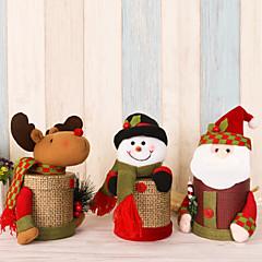 2pcs / lot szép len díszdoboz karácsonyi édességet doboz santa claus szarvas hóember karácsonyi díszdoboz karácsonyi díszek