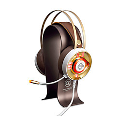 AJAZZ AX360Gold Fejpánt Vezetékes Fejhallgatók Dinamikus Rozsdamentes acél Játszás Fülhallgató Kettős meghajtók Zajszűrő Mikrofonnal A