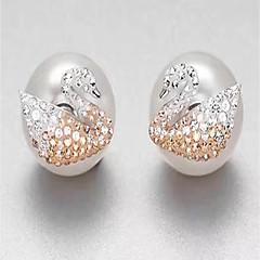 Dame Stangøreringe Rhinsten Hypoallergenisk luksus smykker Perle Sølv Cirkelformet Smykker Til Daglig