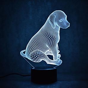 1 stuks 3D-nachtlampje Meerkleurig USB Sensor Dimbaar Waterbestendig Kleurveranderend